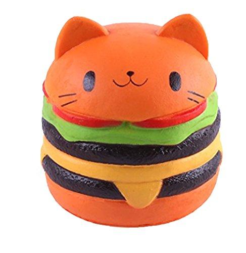 TMEOG Squishy Kawaii Hamburguesa, 4.5' Squishies Jumbo Slow Rising Kawaii Squishies Cat Hamburger Pan de Molde Juguetepara Regalo de colección
