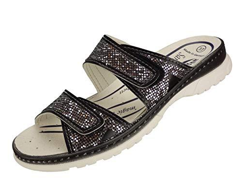 Algemare Damen Sandale mit Absatz Pantolette Sandalette waschbares Sanipur Wechsel-Fußbett 6722_0412 Freizeitschuhe Gesundheitschuhe Wellnessschuhe, Größe:38
