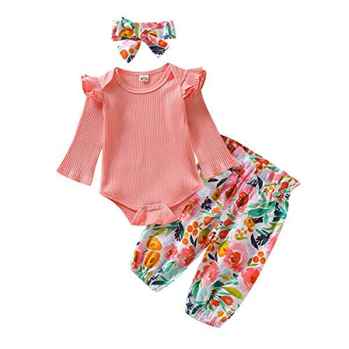3pcs kleren pasgeboren baby truien Leggings broek roze bloem lange kleding Overalls einde