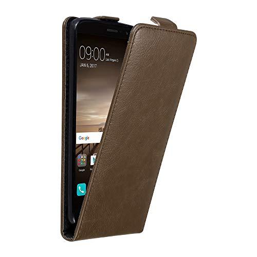 Cadorabo Hülle für Huawei Mate 9 in Kaffee BRAUN - Handyhülle im Flip Design mit unsichtbarem Magnetverschluss - Hülle Cover Schutzhülle Etui Tasche Book Klapp Style