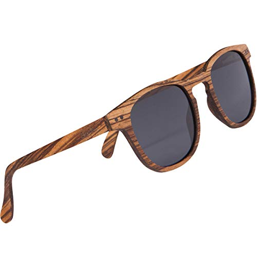 WOODIES Polarized Full Zebra Wood Foster Style Sunglasses for Men and Women   Black Polarized Lenses and Real Wooden Frame   100% UVA/UVB Ray Protection