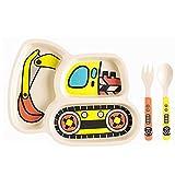 Kinderteller-Set, Bambus-Platten Geschirr Abendgericht, Fütterung verschüttet Spill-Proof-Geteilte Platte - Löffel und Gabel 3-teiliges Set