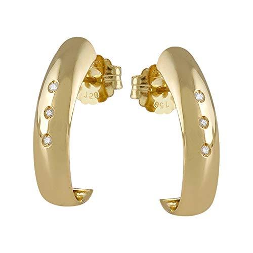 Pendientes oro 18k colección Piave 22mm. diamantes brillantes 0.05ct. lisos cierre presión