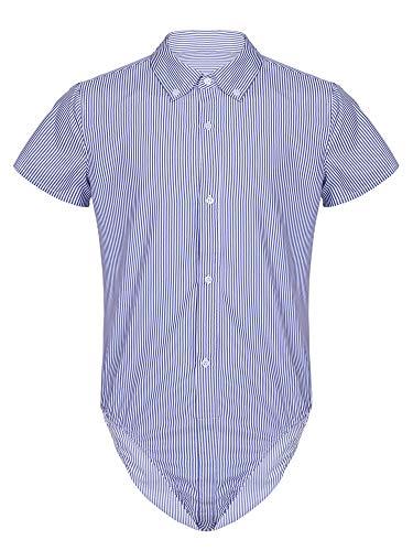 renvena Herren Hemdbody mit Kragen Kurzarm Poloshirt Hemd Bodysuit mit Druckknöpfe im Schritt Männer Business Freizeithemd M-2XL Blau L