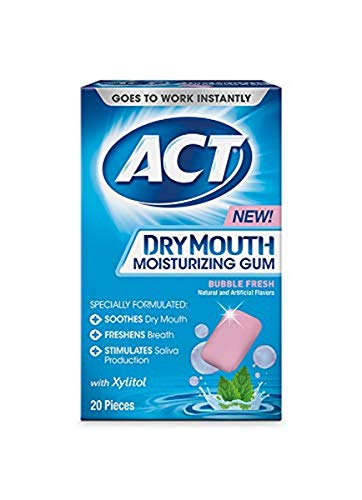 ACT Dry Mouth Moisturizing Gum, Bubble Fresh, 20 Pieces