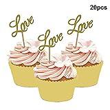 Dusenly 20 x Golden Glitter Liebe Cupcake Topper Dessert Essen Kuchen Picks für Baby Shower...