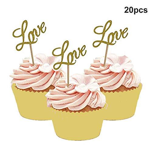 Dusenly 20 x Golden Glitter Liebe Cupcake Topper Dessert Essen Kuchen Picks für Baby Shower Hochzeit Engagement Brautdusche Birthday Party Supplies