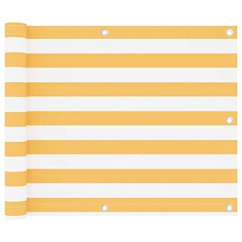 vidaXL Toldo para Balcón Parasol Pantalla Privacidad Malla Ocultación Patio Jardín Terraza Protección Tela Oxford Blanco y Amarillo 75x400 cm