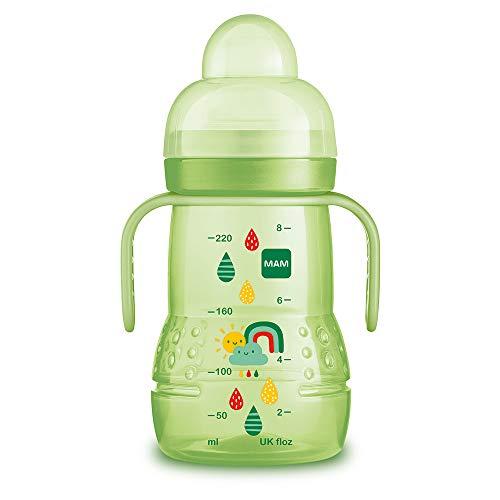 MAM Vaso Trainer D116 - Vaso de Aprendizaje para Bebés a partir de 4 meses, con Tetina de Silicona, Asas y Tapa Protectora - 220ml - Neutro