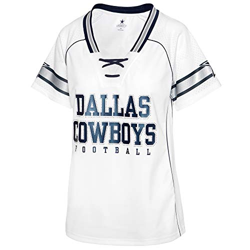 NFL Dallas Cowboys Womens Avery Fashion Jersey, White, Large