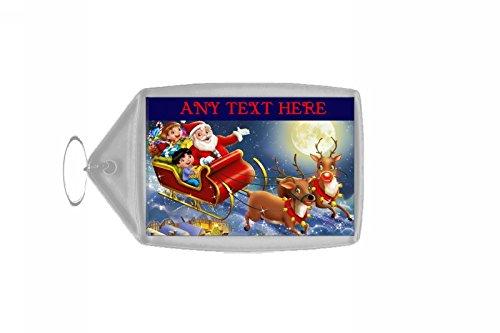 Kerstman In Zijn Slee Kerstmis Gepersonaliseerde Sleutelhanger