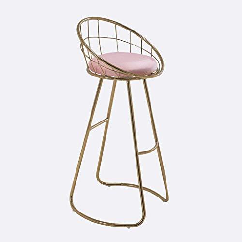 N/Z Home Equipment Barhocker Barhocker mit Rücken- und Fußstütze Samt gepolsterter Sitz Gold Metallbeine Sitzhöhe 27,5 Zoll