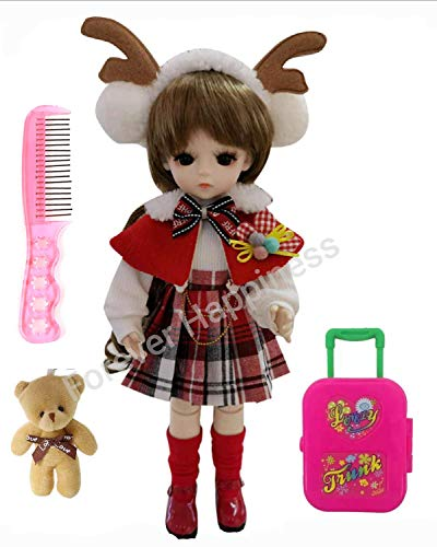 BJD Cute Doll 1/6 12inch 30CM That Includes Body Clothes Shoes and Wig, Full Set 17 Jointed Doll for 6 Years Old Girl and for Birthday