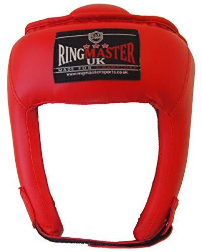 Kids RingMasterUK, caschetto di protezione per boxe, kickboxing, arti marziali, Bambino, Red, XS