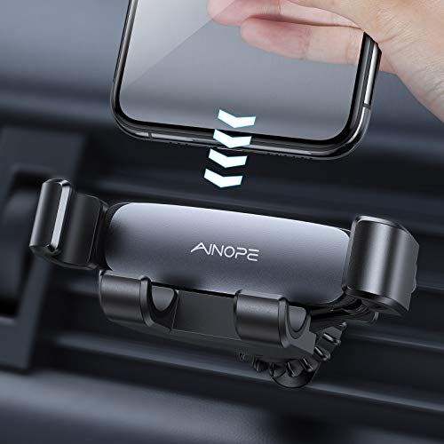 AINOPE Car Phone Holder Mount, Gravity Phone Holder for Car Vent with Upgraded Hook Clip Auto Lock Hands Free Air Vent Cell Phone Car Mount Compatible with 4-7 inch Smartphone