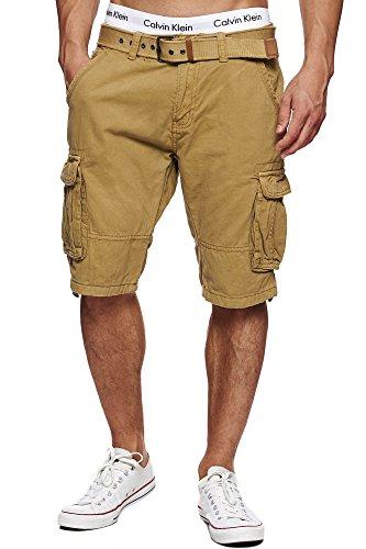 Indicode Herren Monroe Cargo ZA Shorts m. 6 Taschen inkl. Gürtel aus 100% Baumwolle | Kurze Hose Bermuda Sommer Herrenshorts Short Men Pants Cargohose kurz Sommerhose f. Männer Amber M