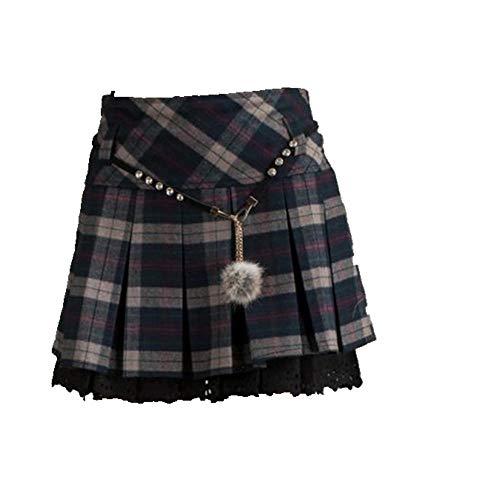 U/A Falda plisada grande para mujer Falda corta falda para mujer Azul azul 48