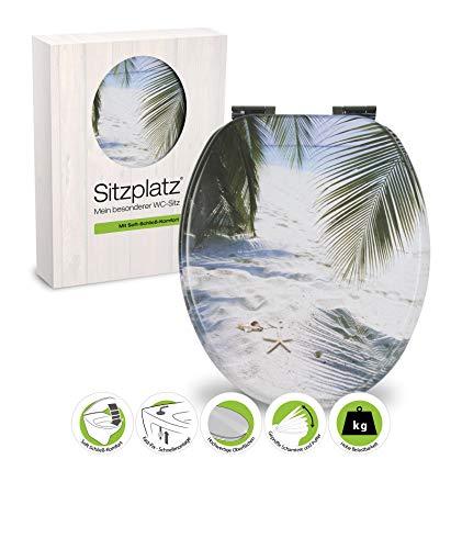 SITZPLATZ® WC-Sitz mit Absenkautomatik, Maritim Dekor Beach, Toilettensitz mit Holz-Kern & Fast-Fix Schnellbefestigung, Standard O-Form universal, Metallscharniere, Toilettendeckel maritim, 40113 5