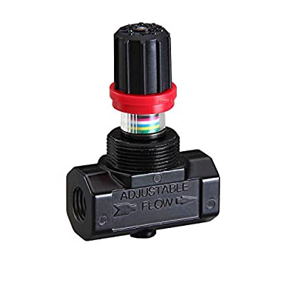 """Fulgem Products 104104F-02 Inline Airflow Regulator Needle Valve 1/4"""" NPT with Adjustment Lock and Color Display Strap For Multi-directional View of In-Time Flow Rate. For Air Tools anc Compressors from Fulgem Corp."""