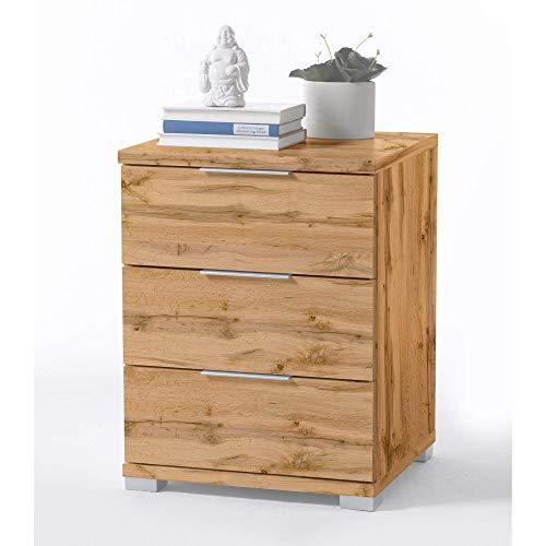 Universal Nachttisch in Wildeiche Optik - Moderner Nachtschrank mit drei Schubladen für Ihr Boxspringbett - 46 x 61 x 42 cm (B/H/T)