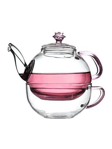 Novela Jarra de vidrio con vidrio de cristal Tetera de cristal de alta temperatura Tetera de vidrio de té simple Mesa de té Oficina Conjunto de té de flor Tetera Filtro Pote individual 380ml Una taza