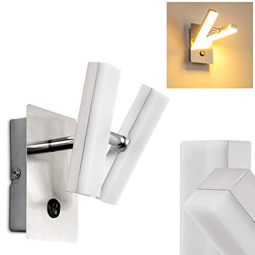 LED Wandlampe Sakami, Wandleuchte aus Metall in Chrom, Wandstrahler 2-flammig mit verstellbaren Leuchtenköpfen, 2 x 2 Watt, 350 Lumen, 3000 Kelvin (warmweiß), mit Schalter zum Ein- und Ausschalten