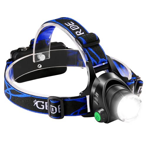 GRDE LED Headlamp Rechargeable, USB Flashlight Head Lamp, Super Bright Waterproof Head Lights with Three Modes and Adjustable Headband, Perfect for Camping, Hiking, Outdoors