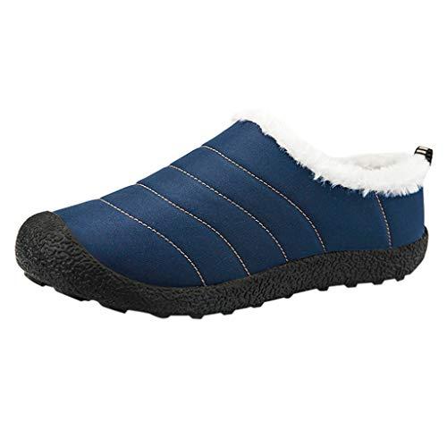 Fheaven Men's Faux Fur Lined Outdoor Snow Shoes,Indoor Moccasins Plus Velvet Snow Boots Hiking Shoes Blue