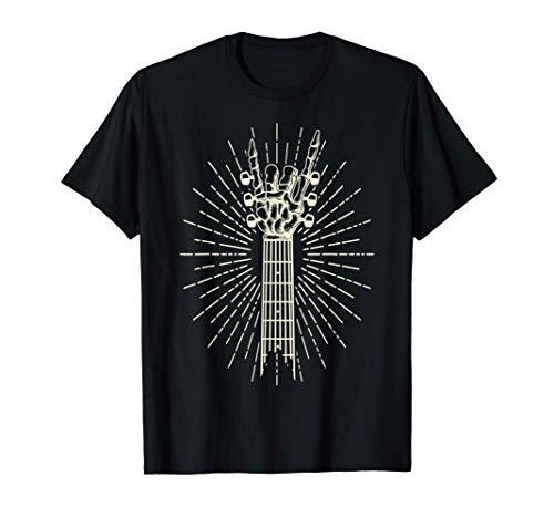 Esqueleto Mano mecedora Músico de Halloween Guitarra Camiseta