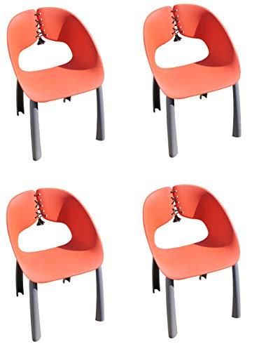 Leco 4 x Luxus Diningsessel Trend - rot, ergonimosch geformt mit dekorativer Schnürung