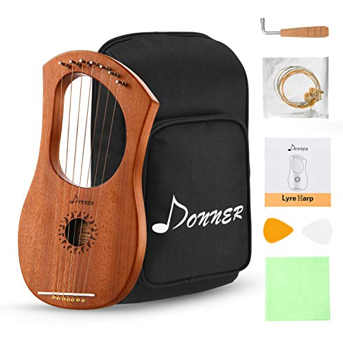 Donner DLH-001 Lyre Harp Mahogany, 7 Metal String Bone saddle Ancient Greece Style Lyre Harp with Tuning Wrench and Black Gig Bag