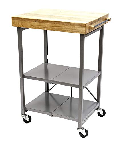 Origami Folding Kitchen Microwave Cart on Wheels