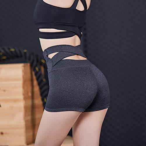 UNKNO Pantalones Cortos para Mujer Medias Elásticas Cruzadas Pantalones Cortos Casuales Deportivos Al Aire Libre-Gris_Metro ⭐