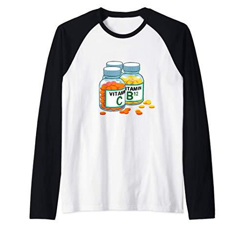 Vitamins Health Nut Dietitian Nutritionist Raglan Baseball Tee