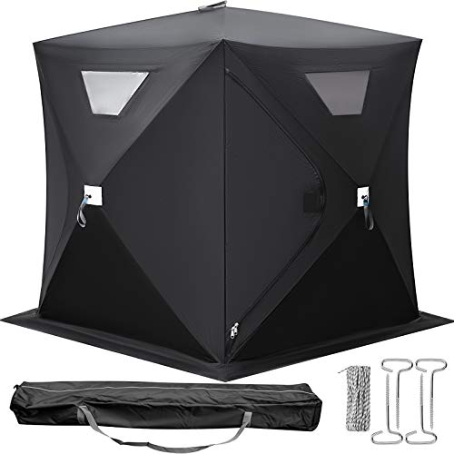 Happybuy 2-3 Person Ice Fishing Shelter, Pop-Up Portable Insulated Ice Fishing Tent, Waterproof Oxford Fabric