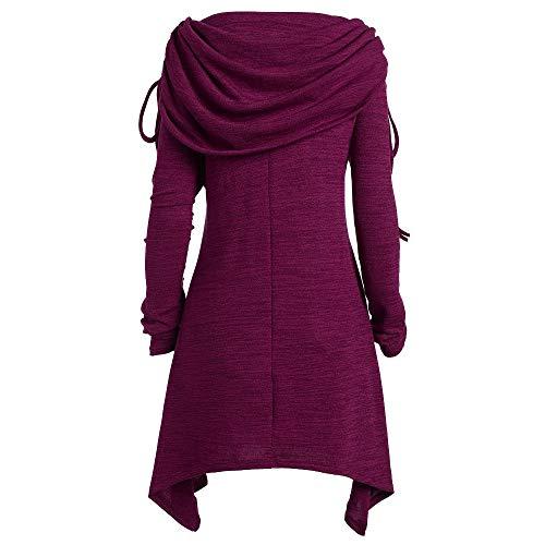 Plus Size Damenmode Solide Geraffte Bluse Tops Damen Weihnachten T-Shirt Sleepwear Pullover Shirt Stricken Sweater Oberteile Strickpullover Strickpulli Sweatshirt (Lila,XXXXXL)