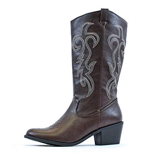 West Blvd Miami Cowboy Western Boots, BrownWhite Pu 10