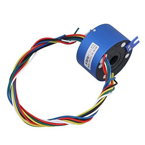 6 Drähte 380 V 10 A 12,7 MM Lochdurchmesser Blau Metall Kunststoff Über Loch Kapsel Schleifring für Elektronische Geräte