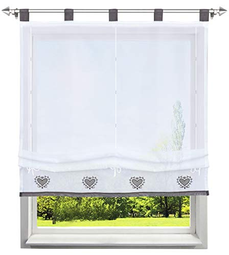 BAILEY JO Raffrollo mit Herz Muster Rollos Stickerei Transparent Voile Vorhang (BxH 80x155cm, Grau mit Schlaufen)