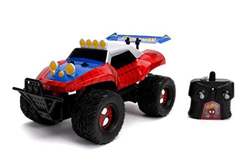 Jada Toys 253228000 Marvel RC Spiderman, Buggy, Ferngesteuertes Auto, Turbofunktion, 2-Kanal Funkfernbedienung, USB-Ladefunktion, inkl. Batterien, 1:14, rot/blau