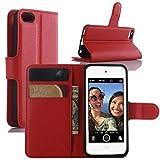 HualuBro Funda iPod Touch 7 Case, Funda iPod Touch 6/5, Funda Libro de Cuero PU Premium con Tapa y Cartera Flip Cover Magnético Carcasa para iPod Touch 5 6 7 Generation Case (Rojo)
