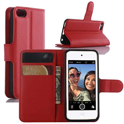 HualuBro Cover iPod Touch 7 Case, Cover iPod Touch 6/5, Flip Cover a Libro in PU Pelle Antiurto Portafoglio Leather Case Custodia per iPod Touch 7th 6th 5th Generazione Cover (Rosso)