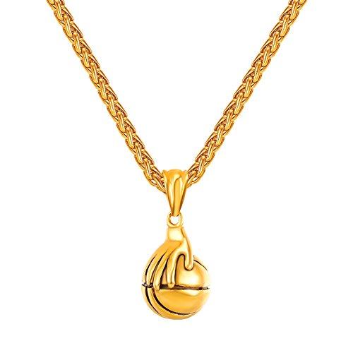 U7 Sport Anhänger Halskette 18k vergoldet Basketball Charm Fitness Bodybuilding Schmuck für Herren Frauen Jugendlich, Gold-Ton