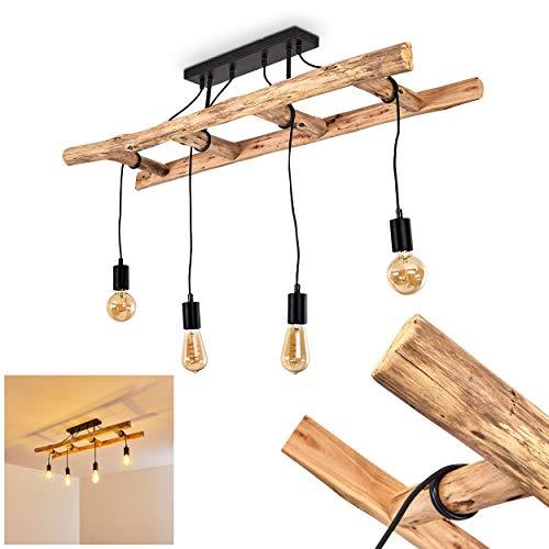 Lampada a sospensione Yaak, in legno in marrone scuro, a 4 luci, attacco lampadine E27, max. 60 Watt, ideale per lampadine a LED. I cavi possono essere piegati a piacere sulla barra di legno.