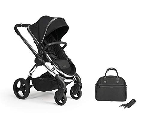 iCandy Peach Chrome Black Twill Pushchair & Carrycot Set with Bag IC2382
