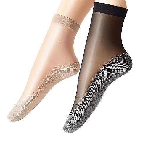 Ueither 12 pares de mujeres sedoso antideslizante de algodón único escarpado tobillo alta medias calcetería calcetines Dedo del pie reforzado (6 Pares Negro 6 Pares Beige)