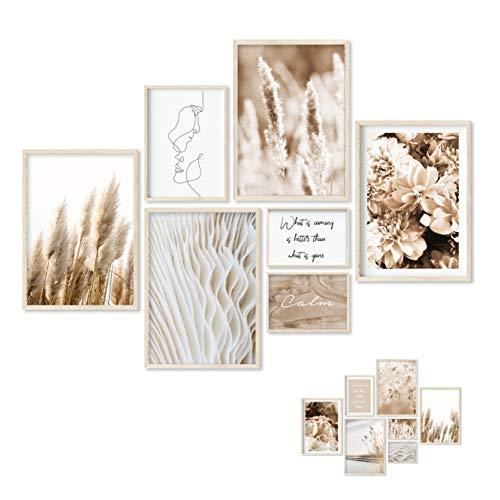 Gloria Therese - Premium Poster Set - 7 Beidseitige Bilder - Stilvolle Home Deko für Schlafzimmer und Wohnzimmer - ohne Bilderrahmen - Natur, Boho, Modern (Beige Pampas, 4xA3 / 1xA4 / 2xA5)