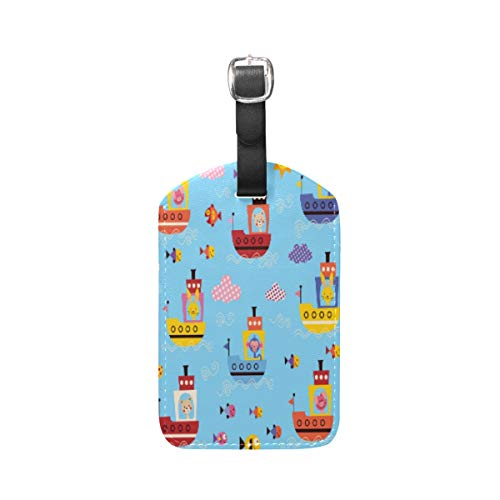 Moyyo Cute Animals in Boats Luggage Tag Suitcase Tags Leather Travel Baggage Luggage Identify ID Tags Labels for Suitcases Luggage Tags with Privacy Cover