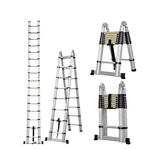 Escalera telescópica de aluminio con 11 peldaños de 10,5ft, EN131 con certificado telescópico, escalera de extensión multiposición