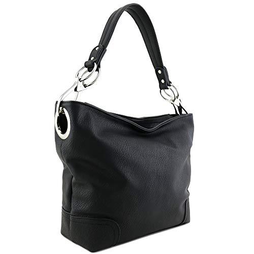 Women's Hobo Shoulder Bag with Big Snap Hook Hardware (Black)